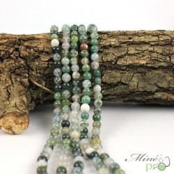 Agate mousse claire en perles rondes 6mm - fil complet