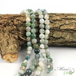 Agate mousse claire en perles rondes 8mm - fil complet
