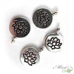 Breloque fleur de lotus métal argenté 20mm - lot de 5