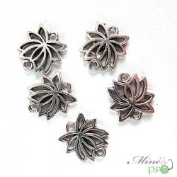 Breloque fleur de lotus métal argenté 15mm - lot de 5
