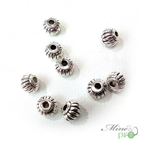 Boule en métal argenté 5mm - lot de 5 - grossiste apprêts bouches du rhone