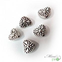 Breloque coeur en métal argenté 7mm - lot