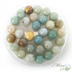 Amazonite mixte en perles rondes 8mm - lot de 10