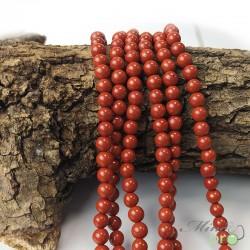 Jaspe rouge naturel en perles rondes 6mm - fil complet