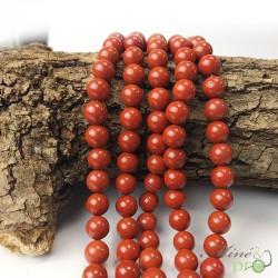 Jaspe rouge en perles rondes 8mm - fil complet