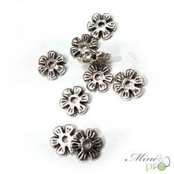 Séparateur fleur en métal argenté 8mm - lot
