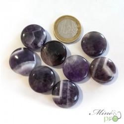 """Améthyste naturelle en perles plates """"ronde"""" 20mm - lot de 5"""