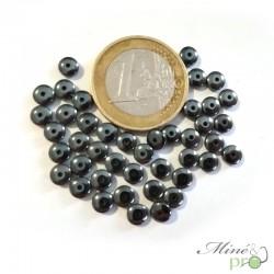 """Hématite naturelle en perles """"bouton"""" 5mm - lot de 10 - grossiste en perles lithotherapie"""