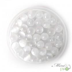 Sélénite en perles rondes 8mm - lot de 10