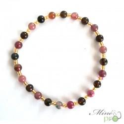 Bracelet en Tourmaline mixte naturelle 4mm et perles de rocaille