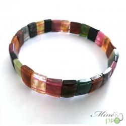 Bracelet plat en Tourmaline mixte naturelle 10mm